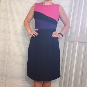 Vintage 90's Color Block Black Career Shift Dress